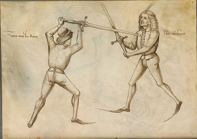Page from the historical Fechtbuch ('fencing book') by German fencing master Hans Talhoffer. Source: Wikimedia Commons.