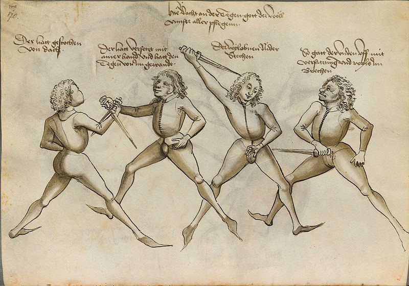 A a scan of the historical Fechtbuch ('fencing book') by German fencing master Hans Talhoffer.