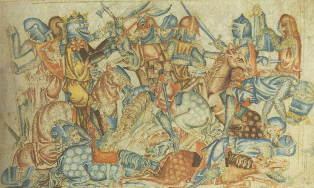 A 1320s depiction of the battle of Bannockburn, from the Holkham Bible