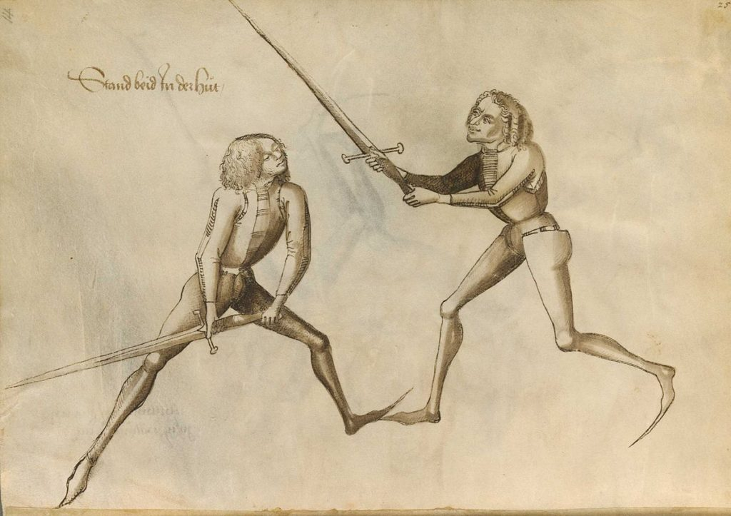 Page from the historical Fechtbuch ('fencing book') by German fencing master Hans Talhoffer.