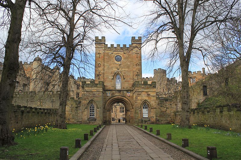 The entrance to Durham Castle, remodelled in the 18th and 19th centuries.