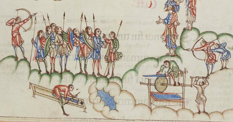 Medieval Cloakes and Tunicsin the Cambridge MS R.17.1 Eadwine Psalter, dated 1150, Canterbury, England.