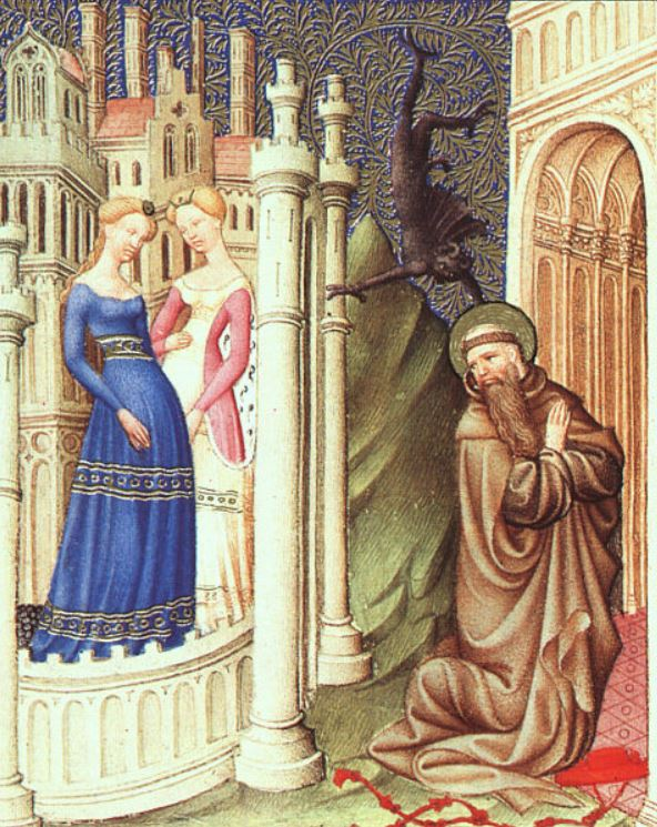 a typical kirtle from a 1400-1409 illumination detail, St Jerome Tempted by Dancing Girls.