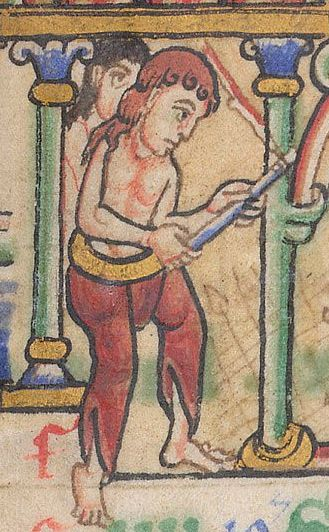 Detail of a man with a thresher, Psalter, The 'Shaftesbury Psalter'.