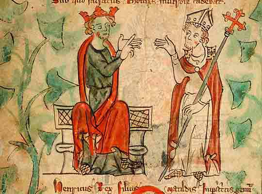 Thomas Becket and Henry II quarrelling. Becket was given Berkhamsted Castle by the king in 1155, and did much rebuilding there.
