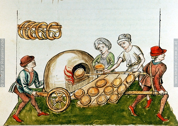 "Medieval portable pie oven 1465-1475 Illumination; wood fired baking oven from 1465-1475, ""A pie-baker"", Konzil von Konstanz ÖNB 3044, fol. 48v."