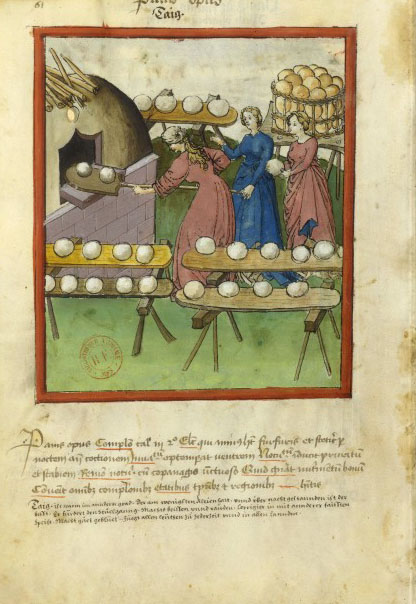 Female bakers 14th cent Illumination from the 14th cent Tacuinum Sanitatis BNF Latin 9333.