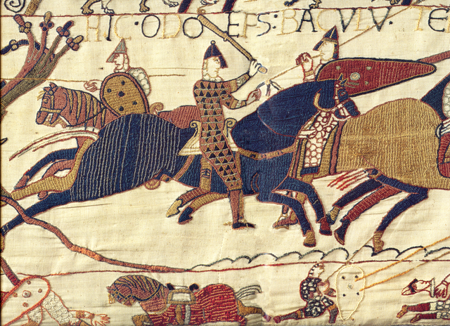 Odo of Bayeux, club in hand on the Bayeux Tapestry.