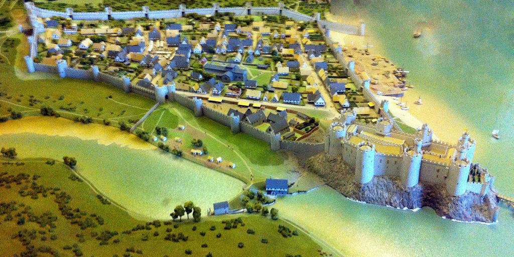 Recreation of Conwy Castle, early 1300s. On permanent public display at Conwy Castle.