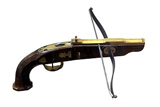 Pistol crossbow for home recreational shooting. Made by Frédéric Siber in Morges, early 19th century, on display at Morges military museum.