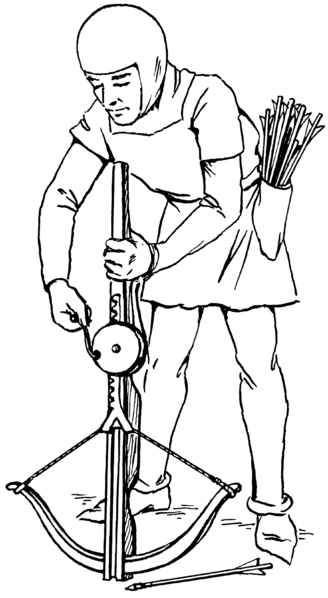 Crossbowman cocking an arbalest