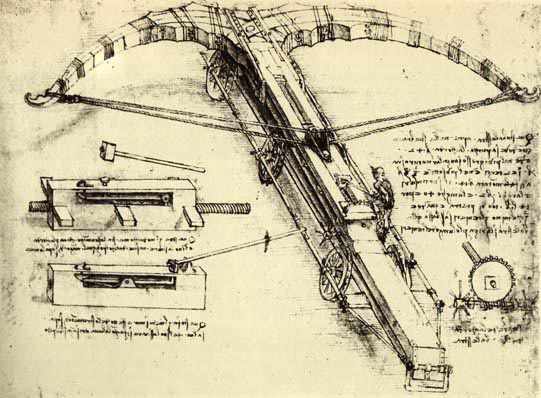 Sketch of a crossbow made of wood and iron by Leonardo da Vinci, c. 1500.