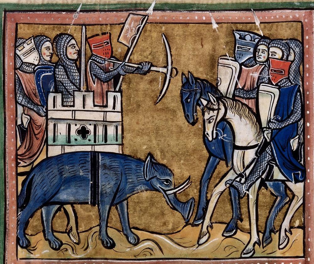 A crossbowman in a 1225-1250 English manuscript.
