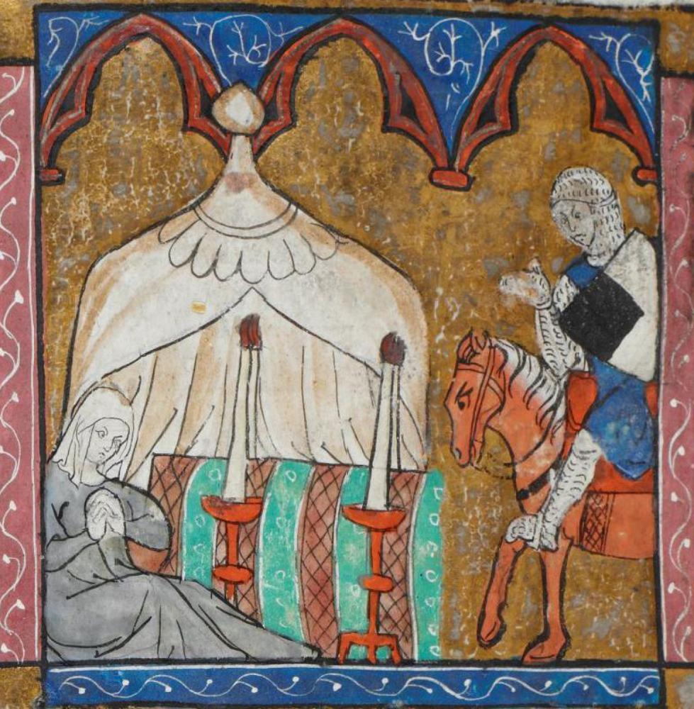 A manuscript showing candles. BL Royal 20 D IV Lancelot du Lac, 1300-1325 Arras, France.