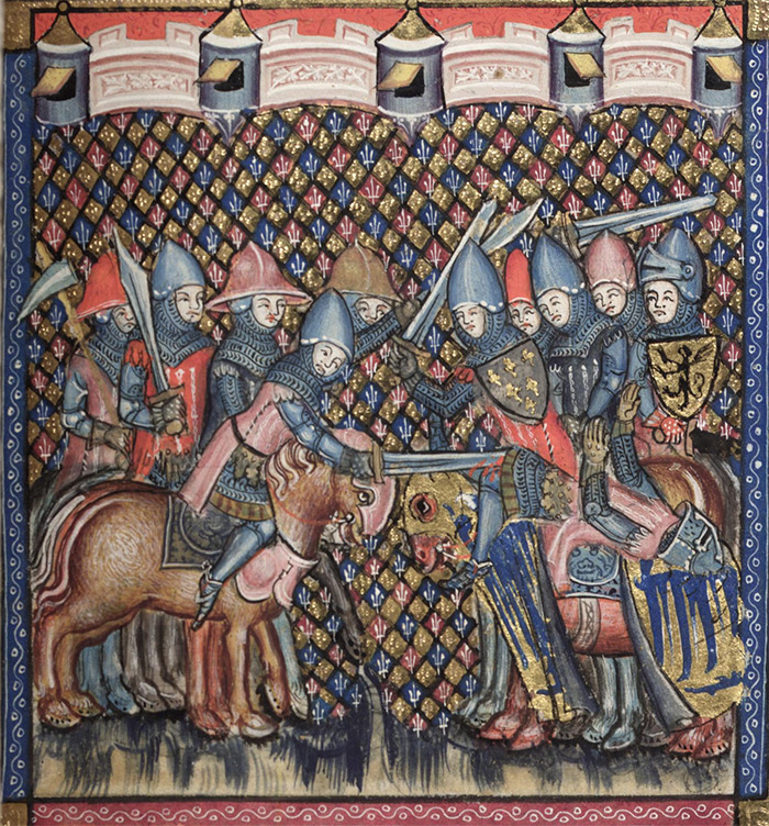 A depiction of a war hammer used in battle. From the Bodley 264 Romance of Alexander, England 1338-1344.
