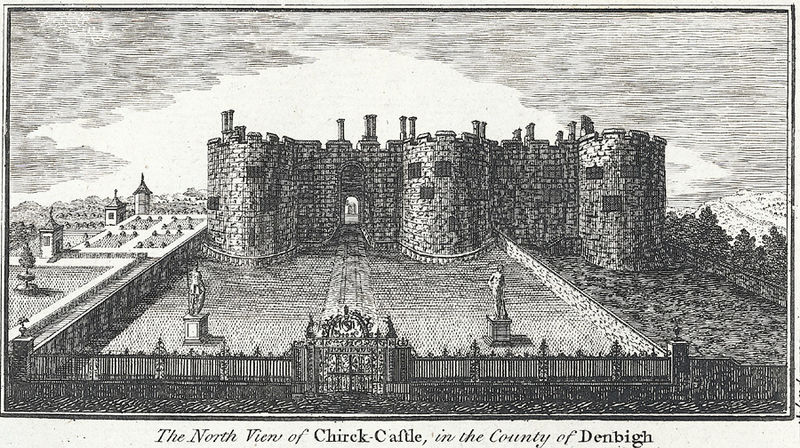 An engraving showing the north view of Chirk Castle, c.1810.