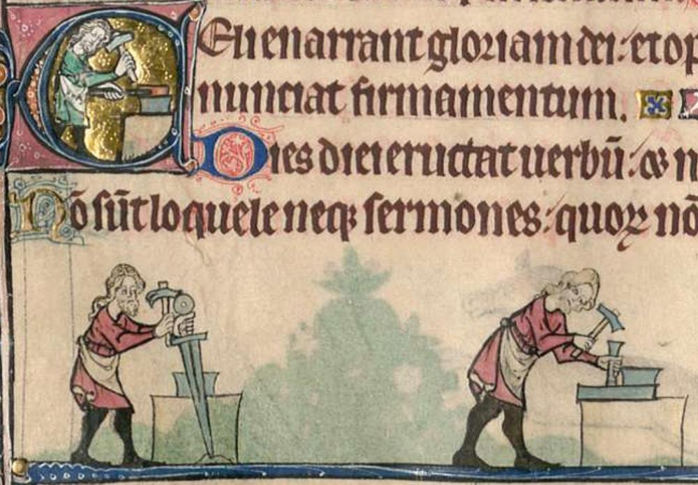 Blacksmiths in the 1303 manuscript Psalter of Queen Isabella of England.
