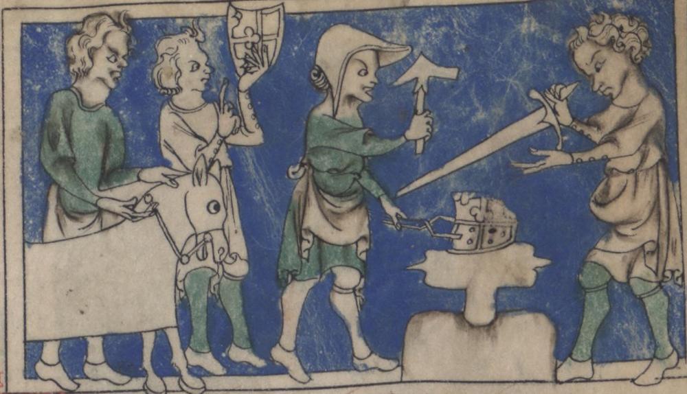 Blacksmiths in the 1308 manuscript Roman de toute chevalerie.