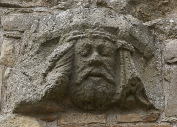 Spynie Palace, corbel in the great hall.