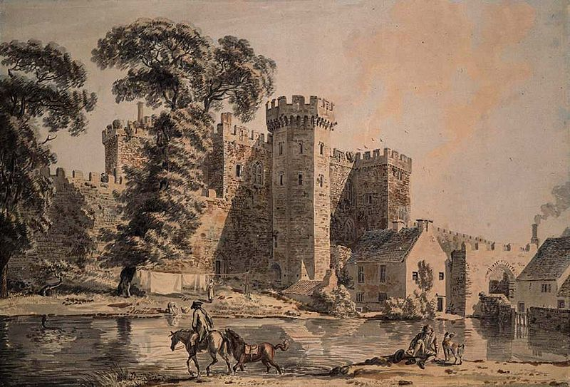 The 15th-century main lodgings and West Gate, shown in a late 18th-century watercolour by Paul Sandby