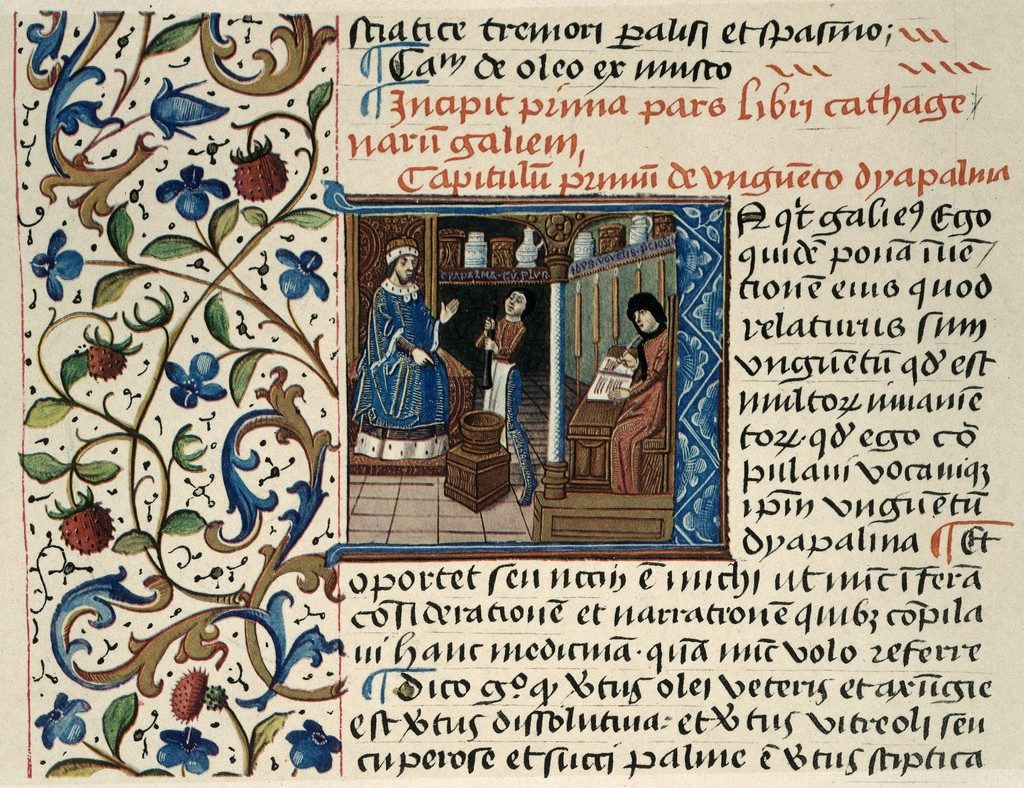 Miniature (no. 37.181) from 15th century manuscript in Dresden: Galen, and assistant with a pestle and mortar, and a scribe in an apothecary's shop