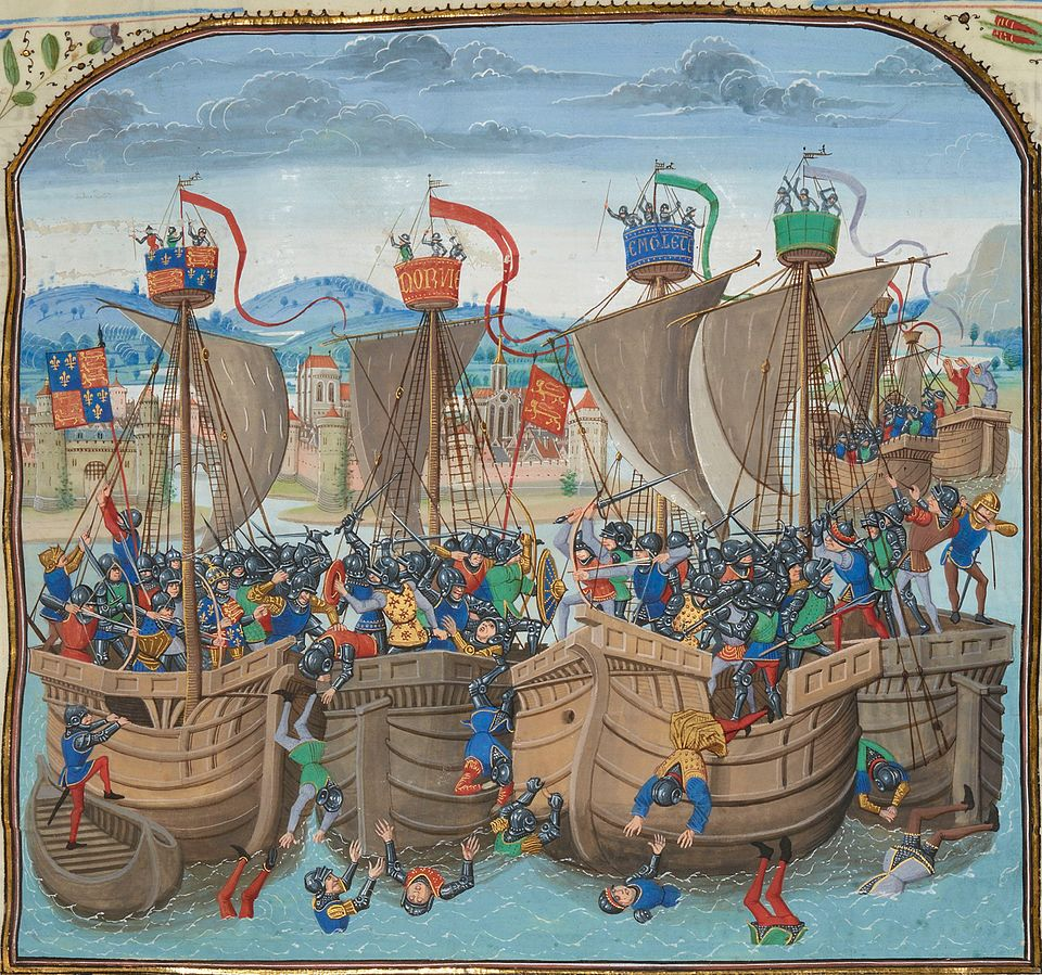A miniature of the battle from Jean Froissart's Chronicles, 15th century.