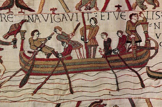 The first delineation of a ship on the Bayeux tapestry: Harold's ship is poled off from the English coast