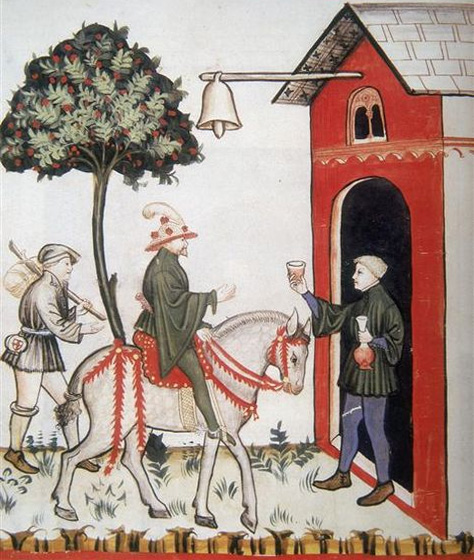 A tavern in a medieval manuscript, taken from the Tacuinum Sanitatis.