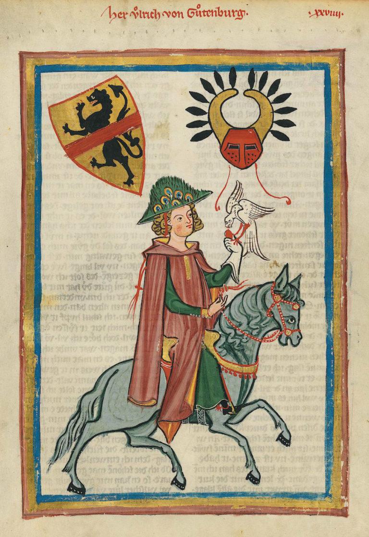 A tabard in the Codex Manesse, UB Heidelberg, Cod. Pal. germ. 848, fol. 73r: Herr Ulrich von Gutenburg.