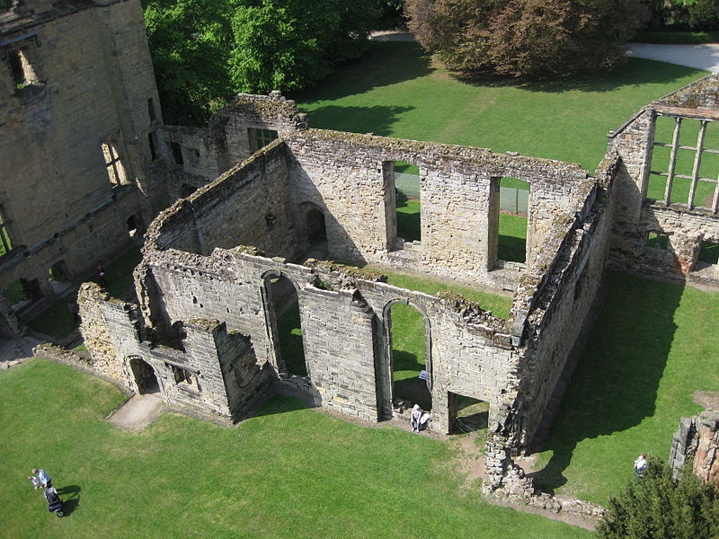 The large hall at Ashby de la Zouch Castle as seen from the top of the tower.