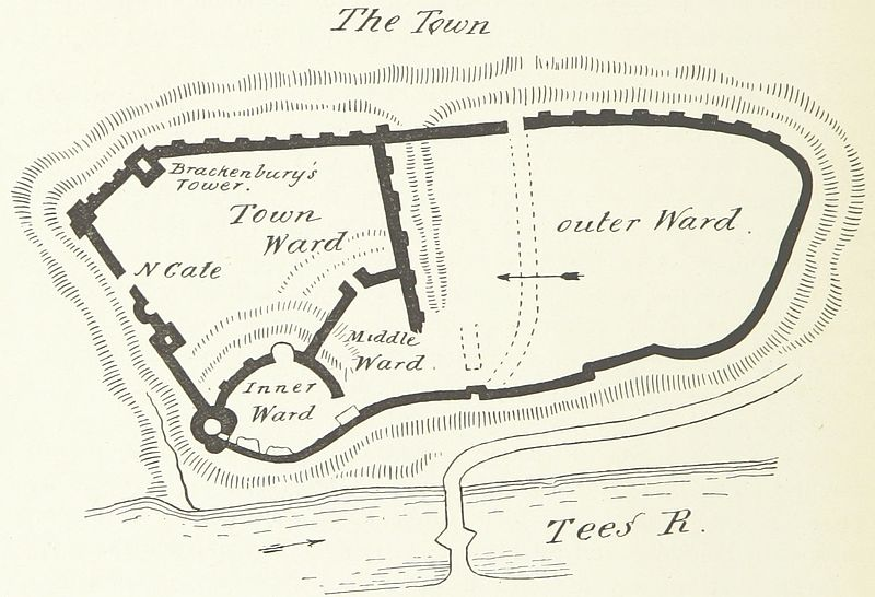 """Plan of Barnard Castle (1897), from """"The Castles of England: their story and structure"""" by Sir James Dixon Mackenzie."""