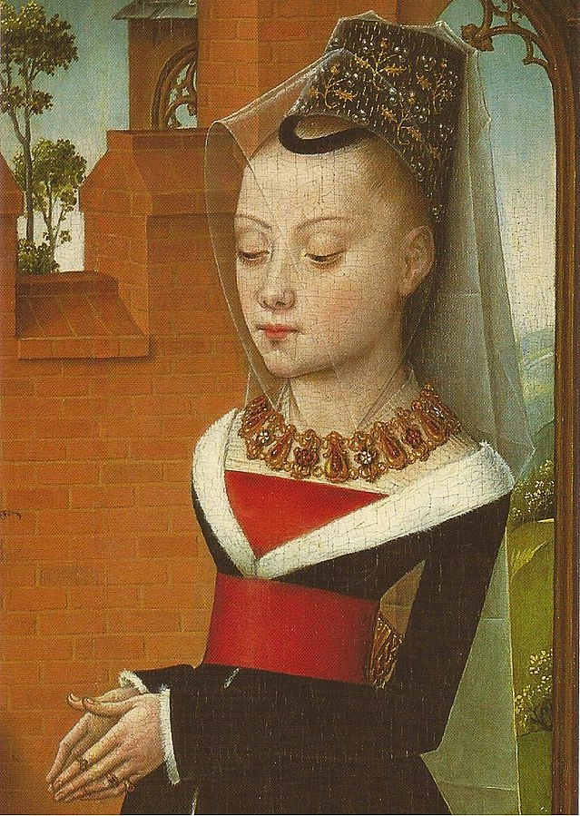 Maria de Hoose, the Bruges patrician, on the leaf of the triptych of Jan de Witte (1473) in the Musée Royale des Beaux-Arts, Brussels.