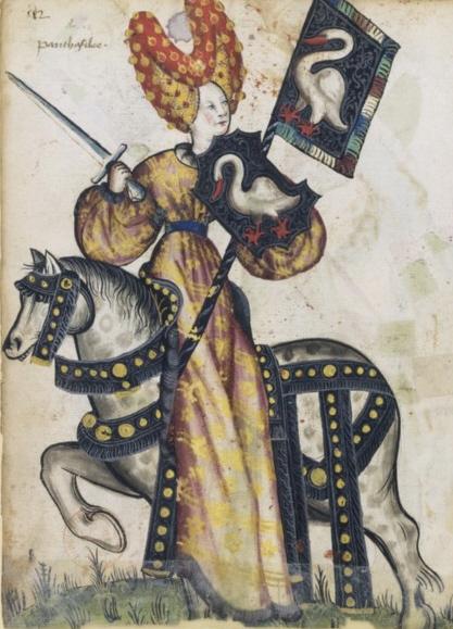 Penthesilea as one of the Nine Female Worthies, Petit armorial équestre de la Toison d'or, fol. 248. (Bibliothèque nationale de France, Manuscrits occidentaux, cote : Clairambault 1312.
