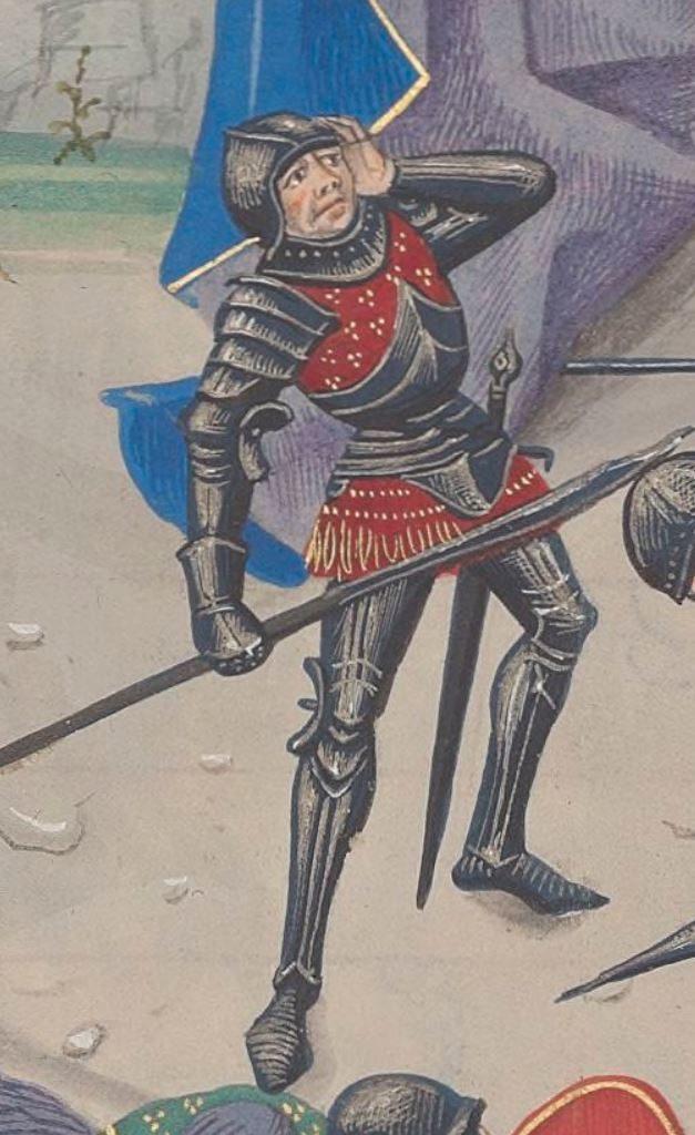 A knight wearing spaulders.