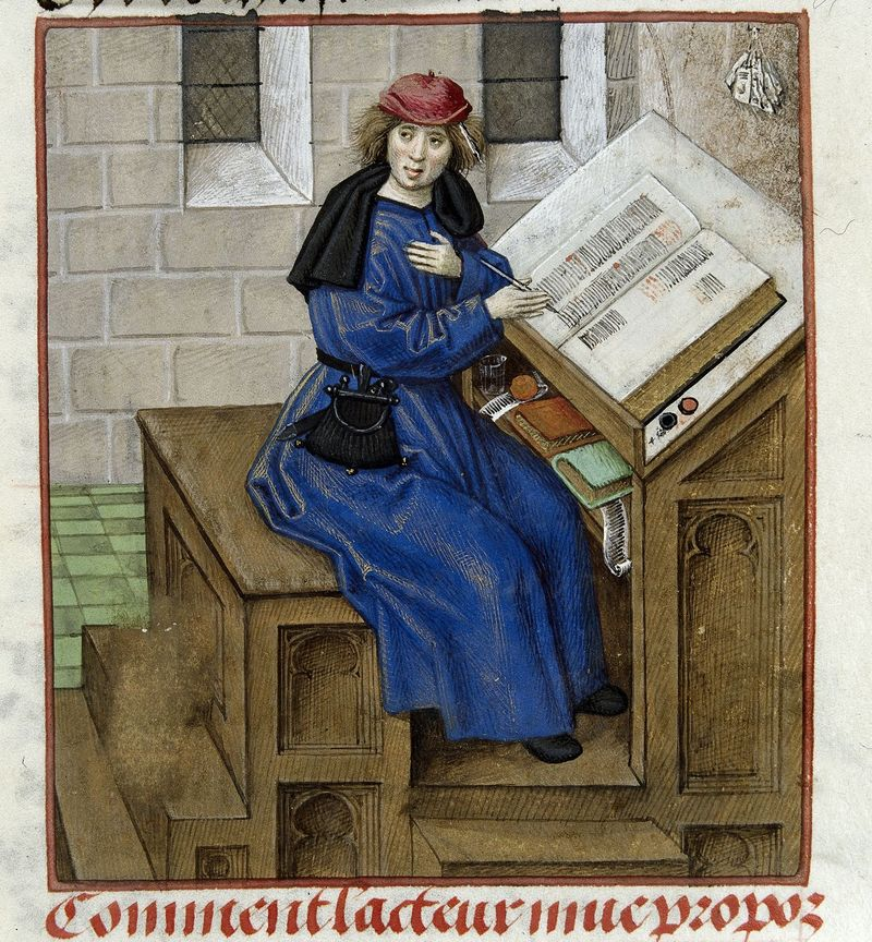 Detail of a miniature of Guillaume de Lorris or Jean de Meun at work writing the text, fro