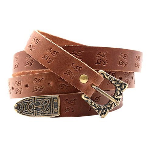 Medieval Leather Viking Belt with Brass Buckle