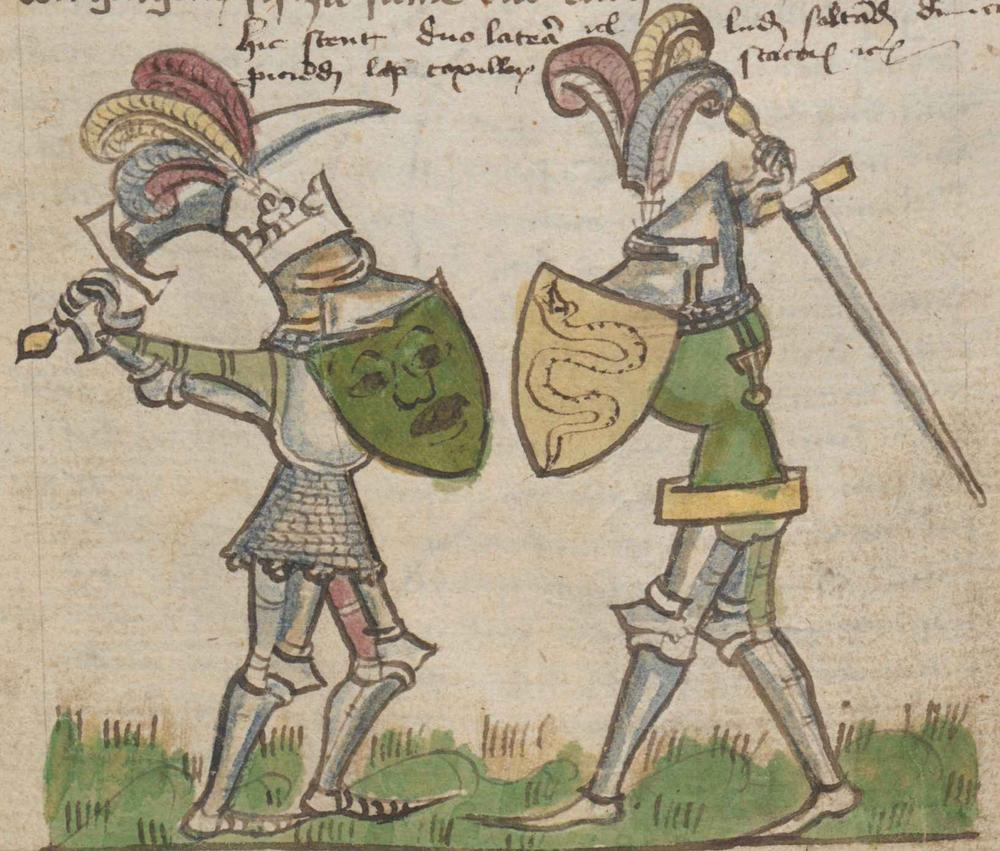 Depiction of sabatons in the Manuscript ONB Han. Cod. 2915 Historia belli Troiani soluto sermone scripta, dating 1390-1400.