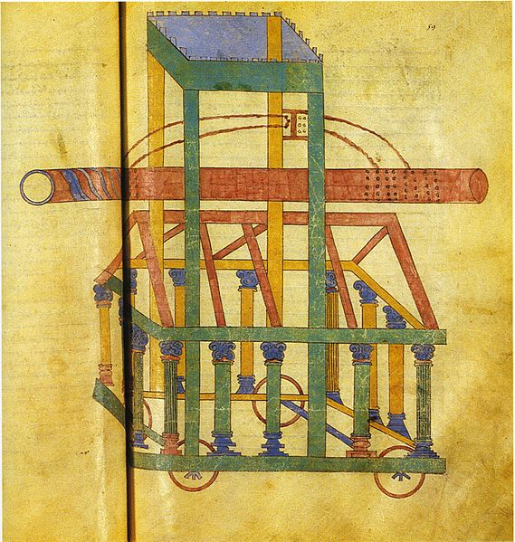 Athenaeus Mechanicus, Mechanica: Illustration showing a battering ram in ms. Paris, Bibliothèque Nationale, Graec. 2442, fol. 59v.