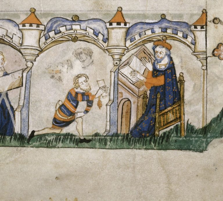Detail of the bottom border of the folio with a bas-de-page scene of a messenger delivering a letter to a man seated at a desk.