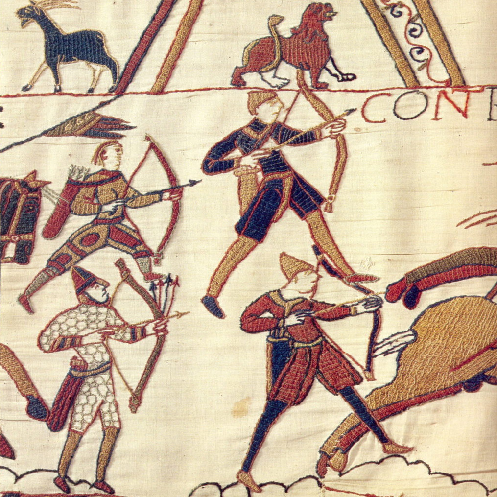 Bowmen in the Bayeux Tapestry. The Bayeux Tapestry is a 70-metre long embroidered cloth depicting the Battle of Hastings and the events leading up to the Norman Conquest of England. It was probably commissioned by Bishop Odo of Bayeux in the 11th century.