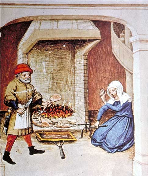 Fowl roasting on a spit. A shallow basin collects the drippings to use in sauces or for basting; The Decameron, Flanders, 1432.