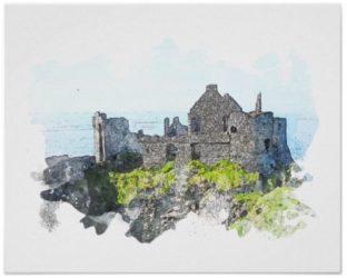 Dunluce Castle Watercolor Poster