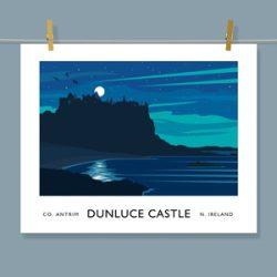 Dunluce Castle, County Antrim - vintage style art print of Ireland
