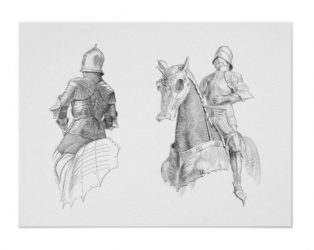 German Armoured equipment for Knight and Horse Poster