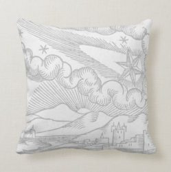 Medieval Comet Star Above the City Throw Pillow