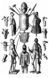 Types of Medieval Armour and Weapons (1783) Postcard