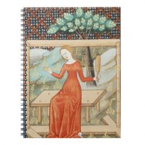 Arachne Weaving on a Loom Medieval Manuscript Notebook