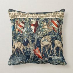 Quest for the Holy Grail Tapestry Deer and Shields Throw Pillow