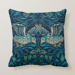 Tapestry Embroidered Medieval Birds by Morris Throw Pillow