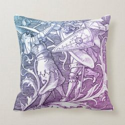 Two Medieval Knights Fighting with Swords Shields Throw Pillow